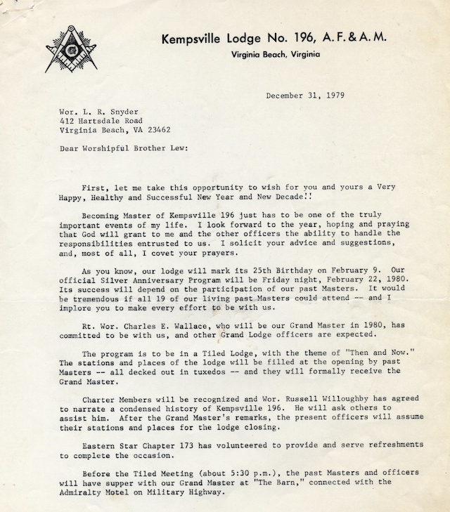 Kempsville lodge no 196 1980 inviting the various past masters to participate in kempsville lodges 25th birthday celebration on february 22 1980 this particular letter is to stopboris Choice Image